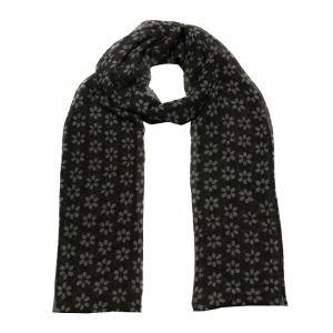 Šátek hedvábí 150 x 50 Květy černý šifon