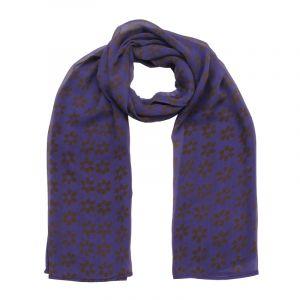 Hedvábný šátek 150 x 50 cm Květy fialový šifon