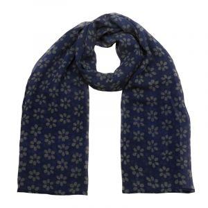 Šátek hedvábí 150 x 50 Květy modrý šifon