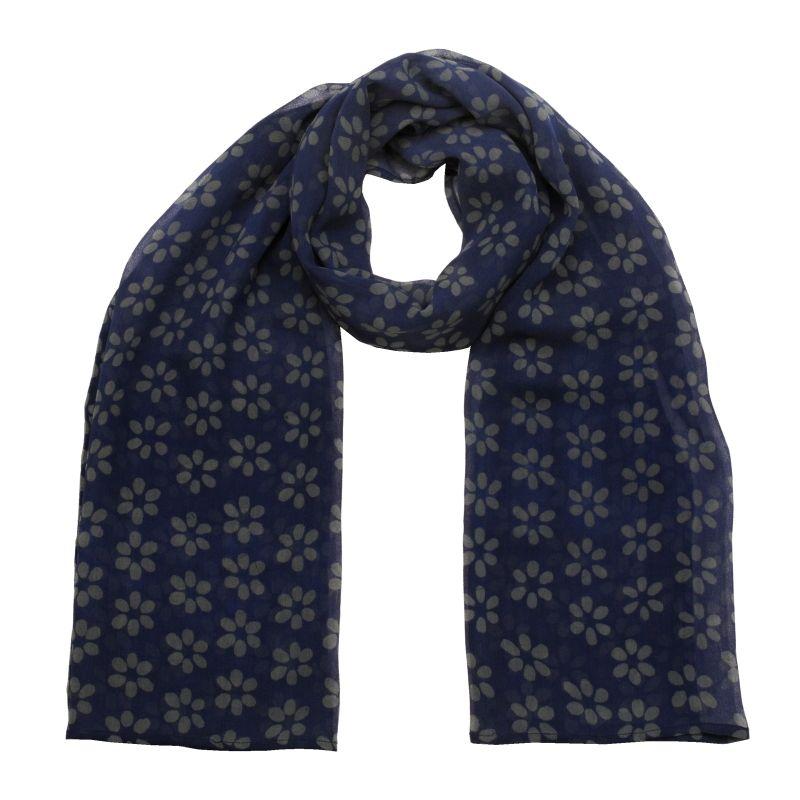 Hedvábný šátek 150 x 50 cm Květy modrý šifon   SoNo spol. s r.o.