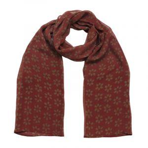 Šátek hedvábí 150 x 50 Květy vínový šifon