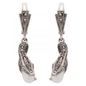 Stříbrné náušnice perla a markazity Ag 10,5 g had