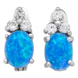 Stříbrné náušnice opál a zirkony Ag 3,2 g modré