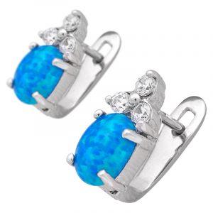 Stříbrné náušnice se syntetickým opálem a zirkony Ag 3,2 g modré   SoNo spol. s r.o.