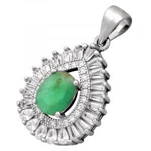 Stříbrný přívěsek smaragd a zirkony Ag 3,4 g