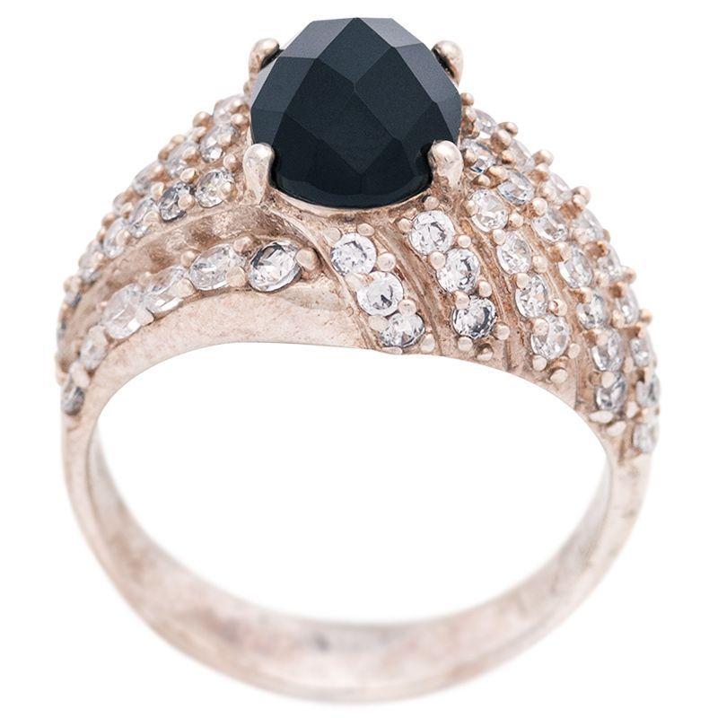 Stříbrný prsten onyx a zirkony Ag 4,8 g | SoNo spol. s r.o.