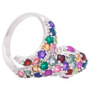 Stříbrný prsten s drahými kameny Ag 6,6 g had