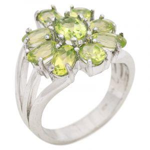 Stříbrný prsten s olivíny Ag 8,3 g
