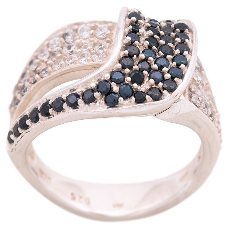 Stříbrný prsten s onyxy a zirkony Ag 7,3 g | SoNo spol. s r.o.