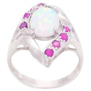 Stříbrný prsten s opálem a rubíny Ag 4,7 g
