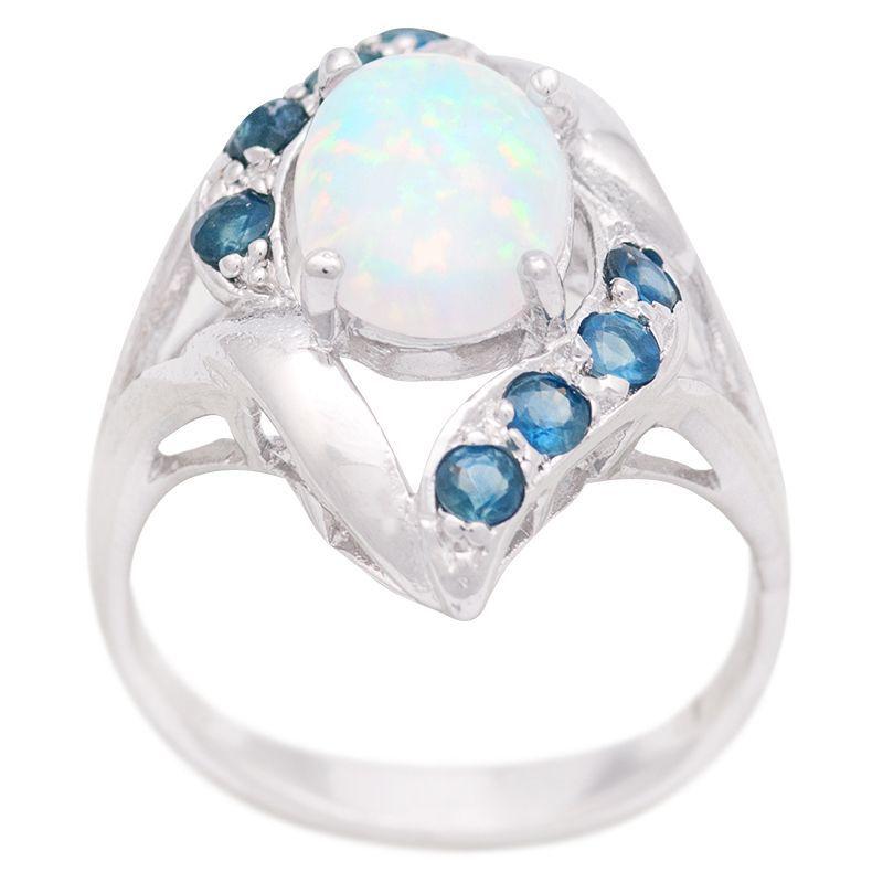 Stříbrný prsten s opálem a safíry Ag 4,7 g