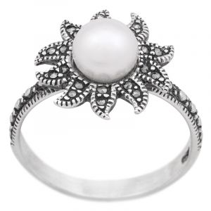 Stříbrný prsten perla a markazity Ag 3,8 g