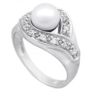 Stříbrný prsten s perlou a zirkony Ag 5,3 g - 56 | SoNo spol. s r.o.