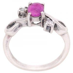 Stříbrný prsten rubín a zirkony Ag 4,4 g