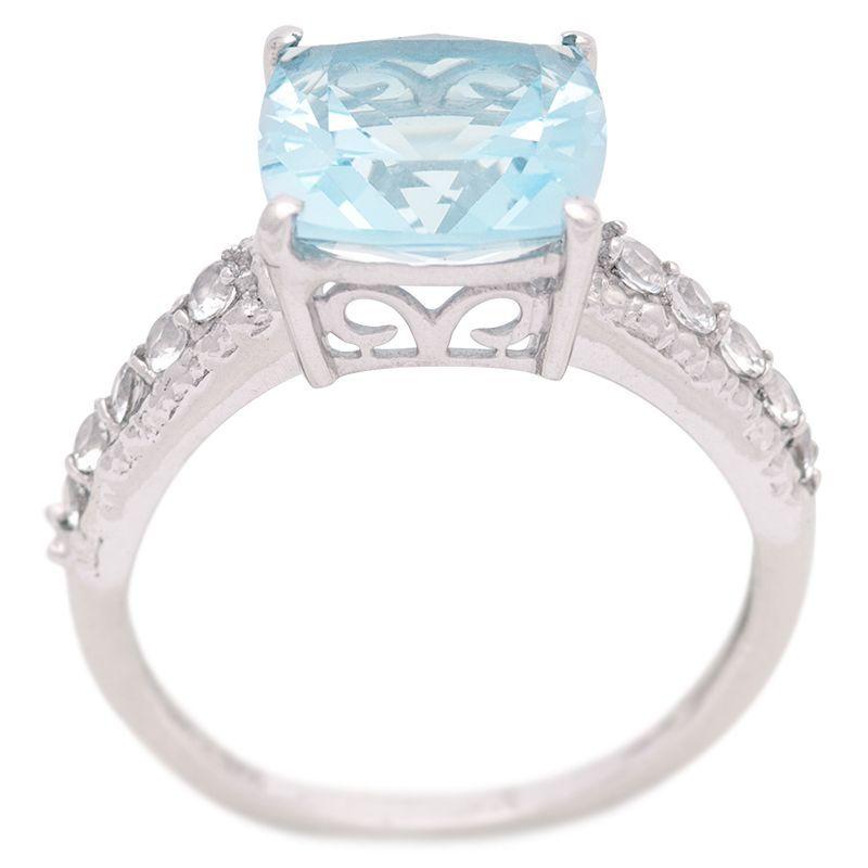 Stříbrný prsten s Sky Blue topazem a zirkony Ag 3,4 g
