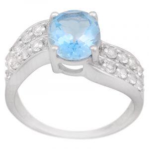 Stříbrný prsten Sky Blue topaz a zirkony Ag 5,2 g