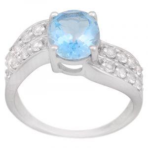 Stříbrný prsten s Sky Blue topazem a zirkony Ag 5,2 g