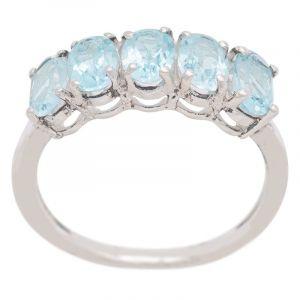 Stříbrný prsten s Sky Blue topazy Ag 925/1000 2,9 g