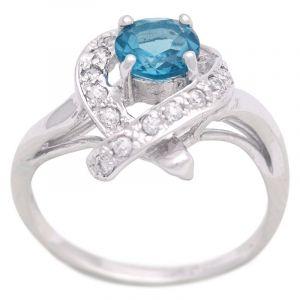 Stříbrný prsten s Swiss Blue topazem a zirkony Ag 3,5 g