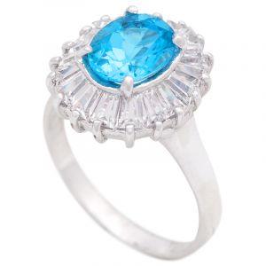Stříbrný prsten s Swiss Blue topazem a zirkony Ag 5,5 g