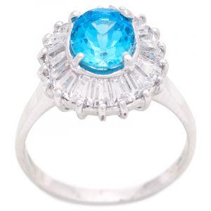 Stříbrný prsten Swiss Blue topaz a zirkony Ag 5,5 g