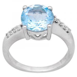 Stříbrný prsten Sky Blue topaz a zirkony Ag 4,1 g