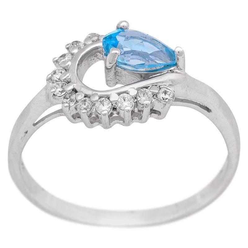 Stříbrný prsten se Swiss Blue topazem a zirkony Ag 2,6 g | SoNo spol. s r.o.