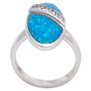 Stříbrný prsten se syntetickým opálem a zirkony Ag 6,6 g | SoNo spol. s r.o.