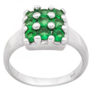 Stříbrný prsten zirkony Ag 4,6 g square
