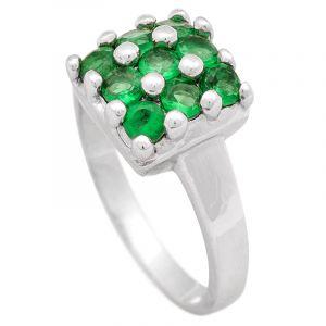 Stříbrný prsten se zelenými zirkony Ag 4,6 g square   SoNo spol. s r.o.