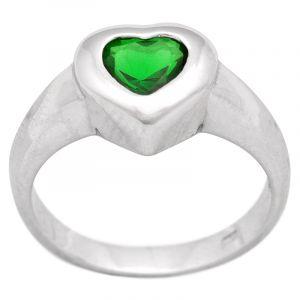 Stříbrný prsten zirkon Ag 4,1 g srdce