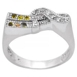Stříbrný prsten zirkony Ag 5,2 g vlna
