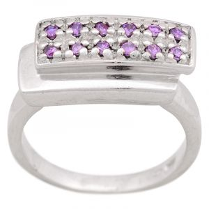 Stříbrný prsten zirkony Ag 6,3 g