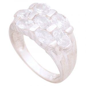 Stříbrný prsten se zirkony Ag 6,5 g