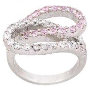 Stříbrný prsten zirkony Ag 6,8 g loop